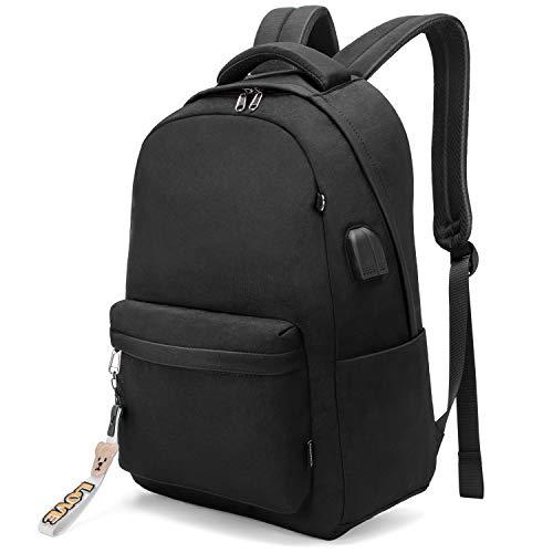 YONiMO バックパック 大容量 PC リュック 軽量 15.6インチ PC対応 USBポート&イヤホンポート搭載 通勤 通学 旅行 出張 アウトドア メンズ レディース 兼用 多機能バッグ キャリーオン機能 おしゃれ リュックサック (黒)