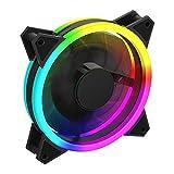 GameMax Velocity - Ventilador de refrigeración para PC (120 mm, Arco Iris, Doble Anillo, rodamiento hidráulico, Ventilador de 11 Hoja, Conector de 3 Pines, sincronización de luz mística RGB | Negro