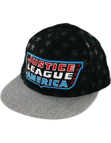 Justice League Faces of Strength Courage Power Black & Grey Adjustable Snapback Flatbill Mens Baseball Cap