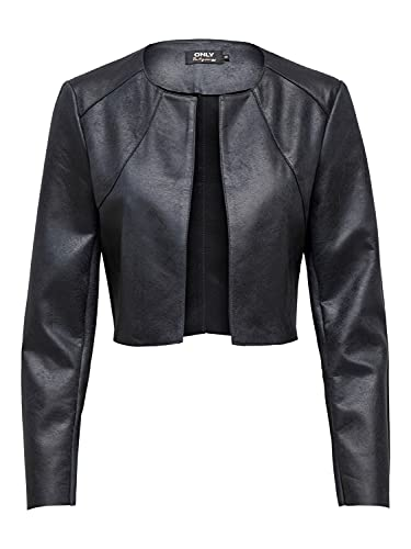 Women Only Faux Leather Bolero Jacket Onlnew Fawn Long Sleeve Blazer Cropped Open Front Shoulder Top, Color:Negro, Talla:40
