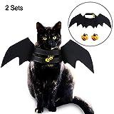 6 Piezas Disfraces de Mascota de Mmurciélago de Halloween Campanilla de Calabaza Alas Trajes de Disfraz de Halloween de Gato Perro para Suministros de Disfraces de Ropa de Mascota Halloween