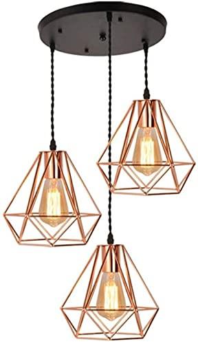 Lámpara de araña vintage, araña de oro rosa, lámpara de araña de metal industrial, pantalla de jaula de pirámide múltiple, lámpara de araña de 3 lámparas de araña rústica de la isla E27 bombilla