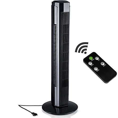 AERSON Turmventilator 80cm Schwarz   Säulenventilator   Towerventilator   Standventilator   Oszillationsfunktion   Timerfunktion   59,8 dB(A) max