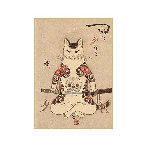 Japonés Samurai Gato Tatuaje Gato Vintage Poster Hogar Decoracion Japonés Estilo Tatuaje Gato Pared Arte Dormitorio Minimalista Tatuaje Gato Lienzo Pintura (No Marco)