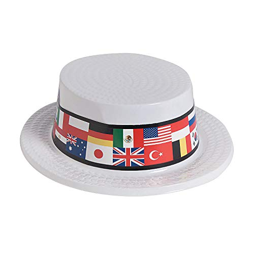 Fun Express - Flag of All Nations Skimmer Hat - Apparel Accessories - Hats - Party Hats - 12 Pieces