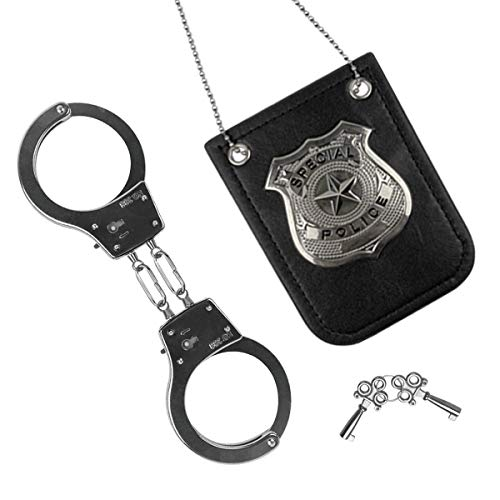 JoFAN Police Badge and Handcuffs Toys Cop Pretend Role Play Set for Boys Girls Kids Halloween Costumes Accessories Gifts Treats Party Favors Supplies