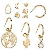 GUANGUA Pendientes Colgantes de Flores de Oro Vintage Pendientes Mixtos Femeninos Pendientes geométricos de círculo Cruzado de Estrella Conjunto de Joyas de Mujer
