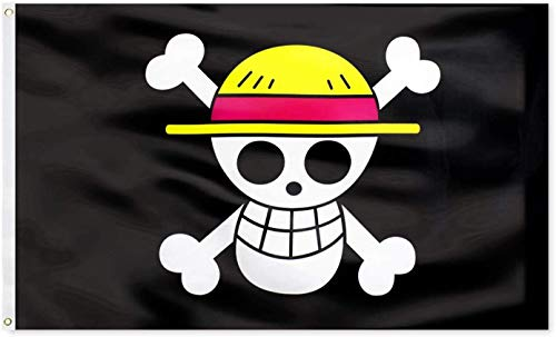 One Piece Pirate Luffy's Straw Hat Pirate Banner,Jolly Roger Pirate Flag Cartoon Victory Canvas Header Polyester Outdoor Decor with Brass Grommets 3x5 Ft