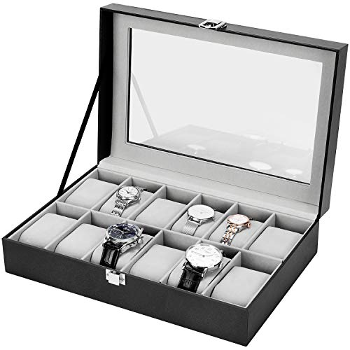 Gifort Caja de Relojes, Estuche para Relojes de Cuero PU Caja Guardar Elegante con 12 Compartimentos y Tapa de Cristal para Hombre Mujere, 30 x 21 x 8 cm