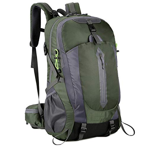Belleashy Camping Backpack 50L Water Resistant Hiking Travel Backpack For Camping Trekking Travel Outdoor (Size:Free Size; Color:Dark Green)