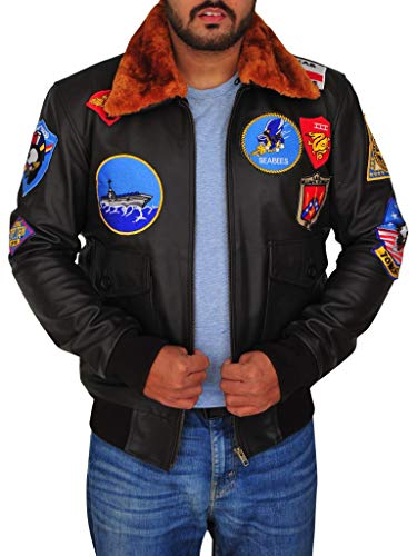 Toff Hub Men's Top Gun Faux Leather Jacket with Embriodery Patches (XL) Black