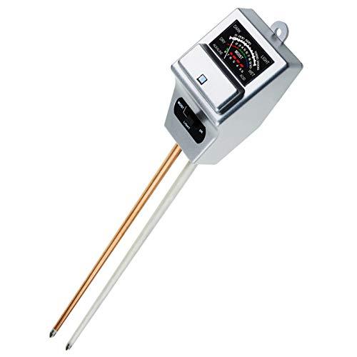 GAIN EXPRESS Testeur de pH, d'humidité et de lumière du Sol, testeur à 3 Voies (Argent), Outil de Test d'échantillon d'acidité de Jardinage, Croissance des Plantes, arrosage