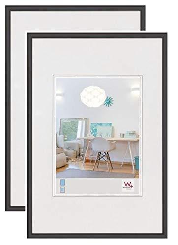 walther design New Lifestyle Bilderrahmen, Wanddekoration, Kunststoff, 2er pack, 1 (42 x 59,4 cm), Schwarz