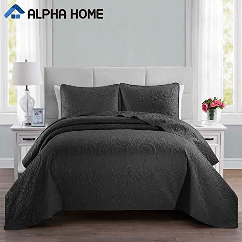ALPHA HOME 2-Piece Lightweight Bedspread Set, Comforter Bedding Quilt Set, Twin Size, Black