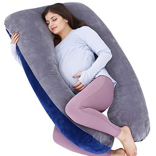 AS AWESLING Almohada de embarazo, almohada de cuerpo completo en forma de U, almohada de lactancia, apoyo y maternidad para mujeres embarazadas con funda de terciopelo extraíble (azul gris)