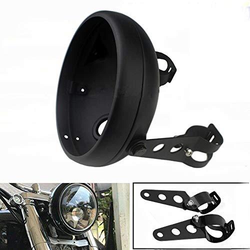 PJHao Cache de phare de moto - En aluminium - 7 pouces - Modification générale - Boîtier LED - Noir mat