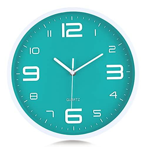 Lafocuse Reloj de Pared Verde Turquesa Números 3D Grandes Reloj de Cuarzo...