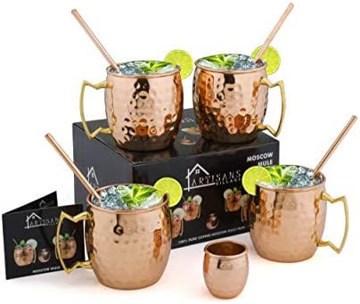 Moscow Mule Copper Mugs Set of 4 glasses 16 oz with 4 Cocktail Straws and 1 Shot glass product image