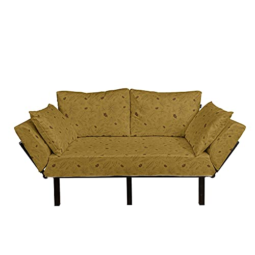 Ambesonne Autumn Futon Couch, Rhythmic Maple Leaves Thin Lines Sketch and Rowan Berries Illustration Print, Daybed with Metal Frame Upholstered Sofa for Living Dorm, Loveseat, Ginger Chocolate