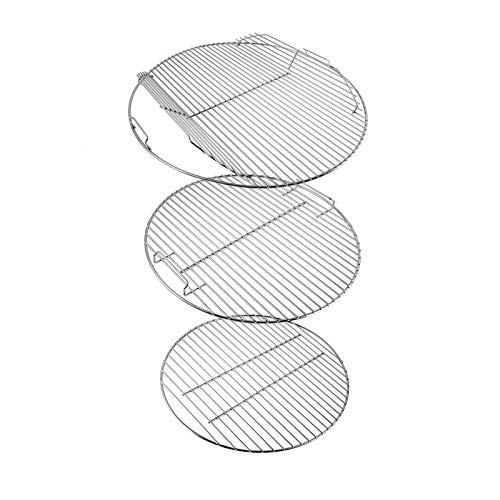 AJinTeby Heavy Duty Plated Steel Hinged Cooking Grate and Lower Grate, Charcoal Grate for Weber 22 inch/ 22.5' Charcoal Grills, Smokey Mountain Cooker (7436+85041+63014)