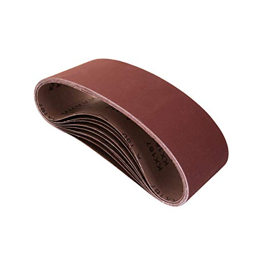 POWERTEC 110470 3 x 21' Sanding Belts | 60 Grit Aluminum Oxide Sanding Belt | Premium Sandpaper For Portable Belt Sander – 10 Pack