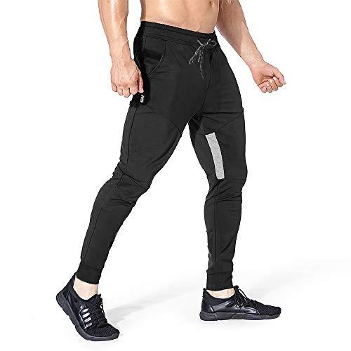 Yageshark Herren Jogginghose Sporthose Baumwolle Fitness Slim Fit Hose Freizeithose Trainingshose Joggers Streetwear (Schwarz, Medium)