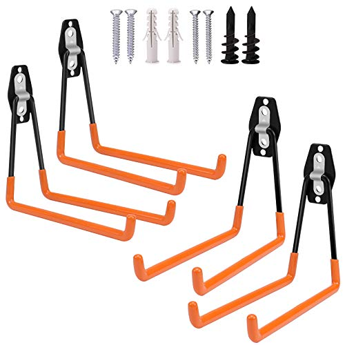 Augtarlion 4 PACK Garage Storage Utility Hooks, Double Heavy Duty Ladder Hangers, Garage Wall Hooks for Hanging Ladder, Hoses, Bike, Folding Chairs, Garage Garden Large Tool Organizer