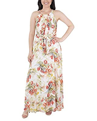 NY Collection Sleeveless Tie Waist Pleated Maxi Dress