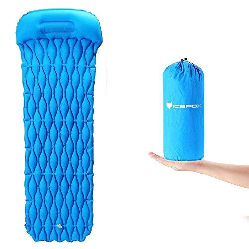 IceFox Isomatte, Luftmatratze Camping, Aufblasbare Schlafmatte, Ultraleichte Schlafmatte, Leicht Kleines Packmaß Luftbett für Camping, Outdoor,Reise, Wandern, Strand