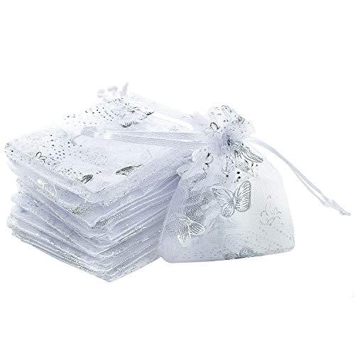 WolinTek Organza Sacchetti 100 Pezzi Sacchetti Organza Bustine Buste Farfalle Sacchettini per Confetti Gioielli Matrimonio Comunione Battesimo Festa Organza Sacchetti,Bianco