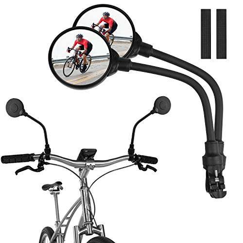 Bike Mirror Handlebar Mount, Convex Rear View Mirror for Mountain Road Bike |Adjustable Rotatable| Wide Angle and Shockproof Bicycle Accessories 2pack