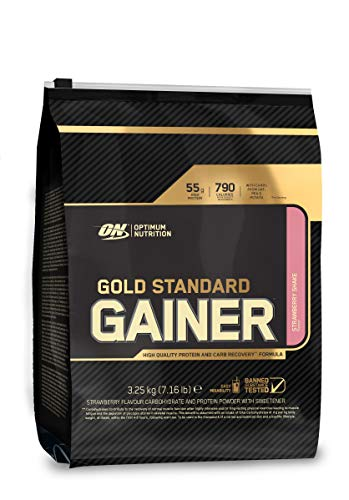Optimum Nutrition Gold Standard Gainer Weight Gainer Whey Protein Powder with Vitamins, Creatine and Glutamine. Protein Shakes by ON - Strawberry Shake, 16 Servings, 3.25kg
