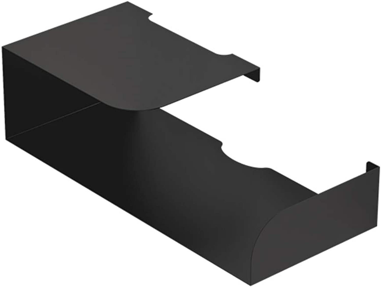 XIAOYAN Shelves Nordic Iron Rack Wall Mounted Bedroom Router Storage Box Set Top Box Black-45.5  20  13cm