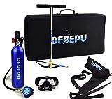 DEDEPU Scuba Diving Tank Equipment, Mini Scuba 1L Tank S5000 Oxygen Tank Set, Underwater Breathing Kit with 20-25 Minutes Capability, Aluminum Breather Valve, Color Blue
