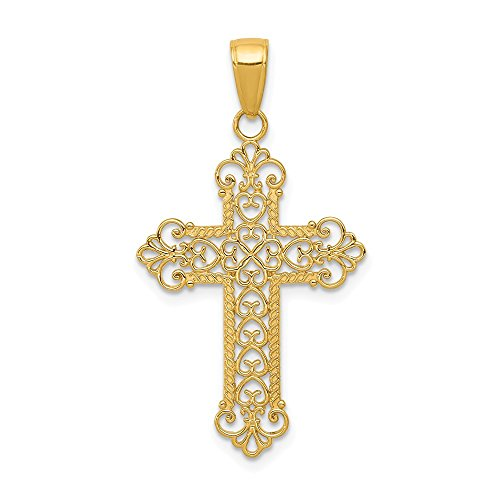 14k Yellow Gold Fleur De Lis Cross Religious Pendant Charm Necklace Fancy Fine Jewelry For Women Gifts For Her