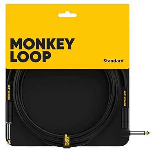 Monkey Loop - Standard - Cable Jack - Conectores Jack Mono y Jack Acodado - Longitud 3 m - Diámetro 6,5 mm - Color Negro - Cable Jack con Diseño de Bajo Ruido - Accesorios para Guitarra