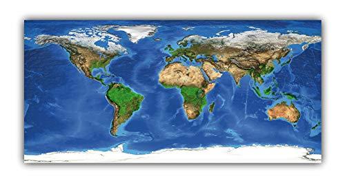 XXL Poster 100 x 48cm (F243) Weltkarte bunte Relief Darstellung Landkarte Worldmap (Lieferung gerollt!)
