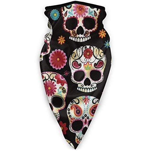 Double Cheese Neuheit Sugar Skull Face Shield Mehrzweck-Halsmanschette, Unisex Windproof Sports Mask Outdoor-Schal Halswärmer Bandana Sturmhaube Kopfbedeckung