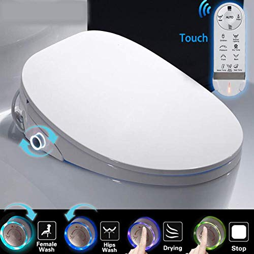 Sooiy Elektronischer Toilettensitz, LED-Anzeige HD Sitzheizung Toilettensitz Japanische Toilette Automatisches Bidet Badezimmer Toilettensitz Reinigungsmassage