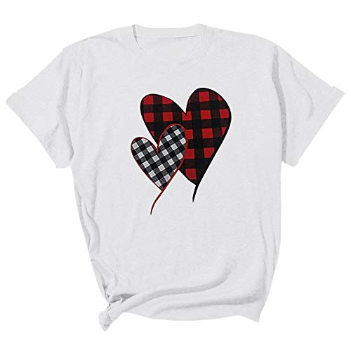 FUNEY Womens Valentine's Day Casual Buffalo Plaid Leopard Print Love Heart-Shaped Short Sleeve O Neck Tshirt Blouse Top White