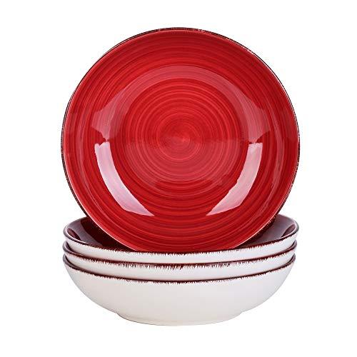vancasso Serie Bella Platos Hondos 4 Piezas Juego de Platos para Sopa Vajillas de Gres Esmaltada Vajillas Retro, Rojo