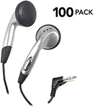 SmithOutlet 100 Pack in-Ear Bulk Earphones in Silver Each Earphone Individually Packaged and Sealed