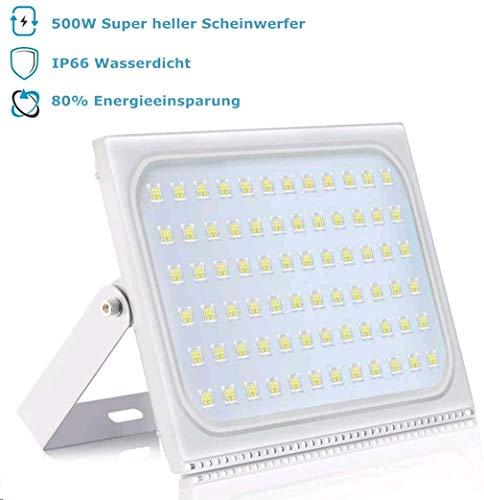 500W LED Strahler Aussen, 50000LM Superhell LED Fluter Scheinwerfer Außen IP66 Wasserdicht Led Flutlicht Strahler für Garage Sportplatz Hof Garten, 6000K Kaltweiss, AC 220-240V, 120°Abstrahlwinkel