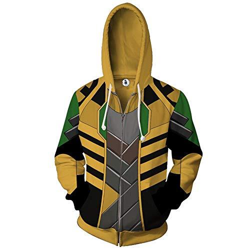 Costume Cosplay Cappotti Felpa con Cappuccio Unisex Zipper Hoodie Loki Stampato Mens Pullover Felpa con Cappuccio A- XL