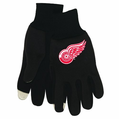 NHL Herren Technology Touch Handschuhe, Herren, A1664811, Detroit Red Wings, Einheitsgröße
