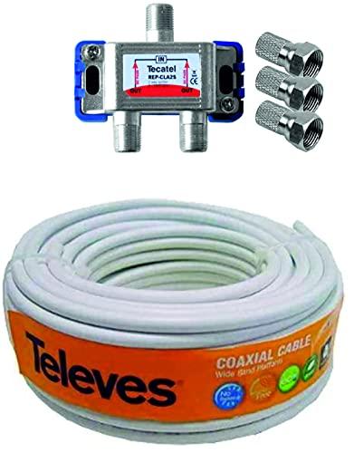 KIT TECNOVOZ 20M Cable antena TELEVES + Repartidor 2 salidas TV/SAT + 3 Conectores F