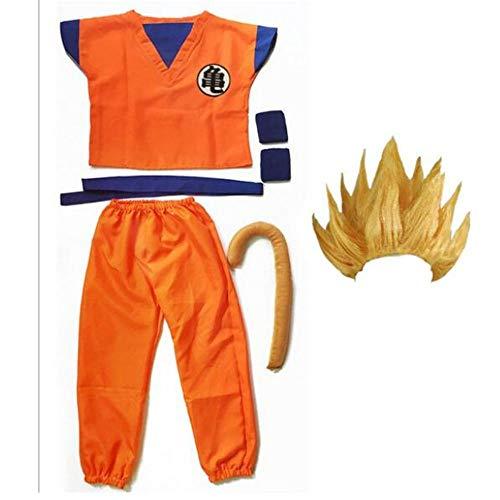 hengGuKeJiYo Dragon Ball Z Traje Son Goku Disfraces de Cosplay Top / Pantalón / Cinturón / Cola / Zapatos Wrister Peluca para Adultos
