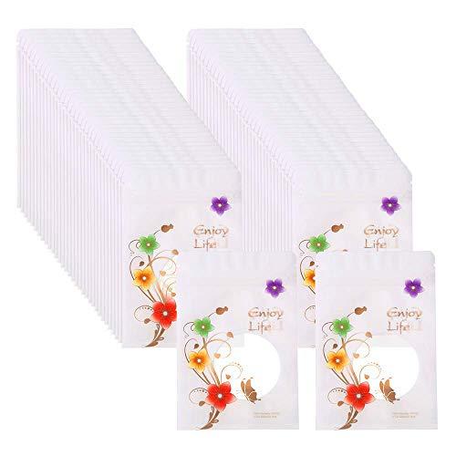 Lucky Meet 100 Stks Geur Proof Hersluitbare Rits Plastic Tassen met Gekleurde Bloemen Ideaal Opbergtas voor Thee, Bonen, Kruiden, Specerijen 14X20cm