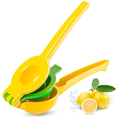 CROWNFUL Premium Lemon Squeezer, Easy to Use 2-in-1 Manual Juicer Hand Press, Lime Squeezer & Citrus Juicer, Yellow