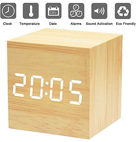 Digitaler Wecker, Holz-LED-Würfel-Uhr, Würfelwecker, Zeittemperatur, Datumsanzeige, Sprach- und Touchaktivierung (Holz)